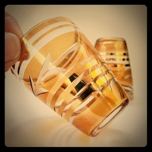 Etched lusterware shot glasses with gold rim